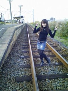 線路でノリノリ♪